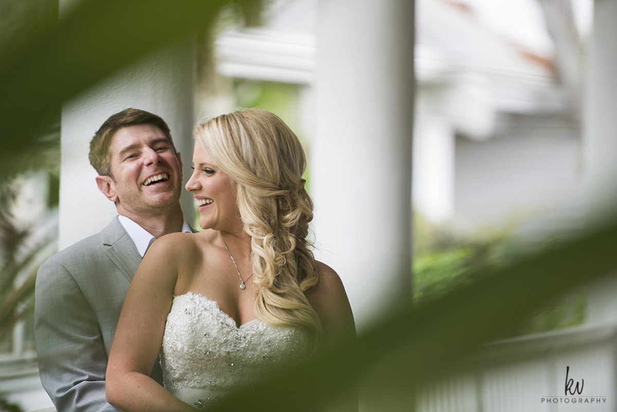 Bride and groom during an orlando wedding by kv photography